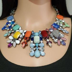 Zara Multi Colored Rhinestone Statement Necklace